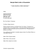 Sample Bank Letter Of Guarantee Template