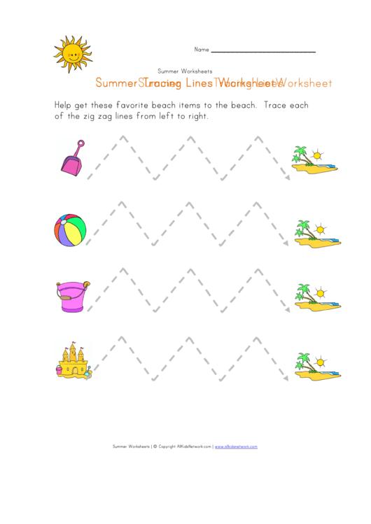 Summer Tracing Zigzag Lines Worksheet