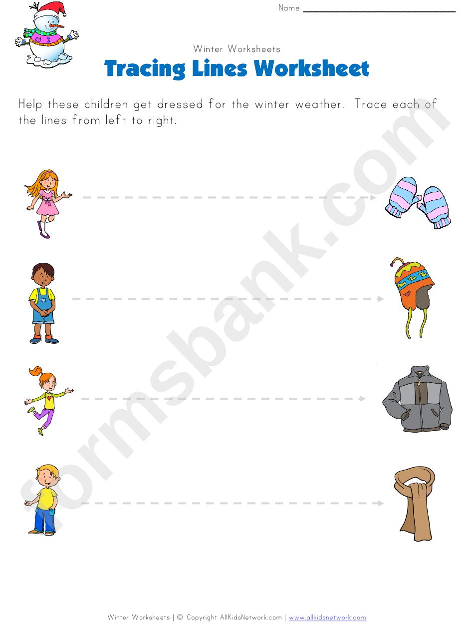 Winter Tracing Straight Lines Worksheet Printable Pdf Download