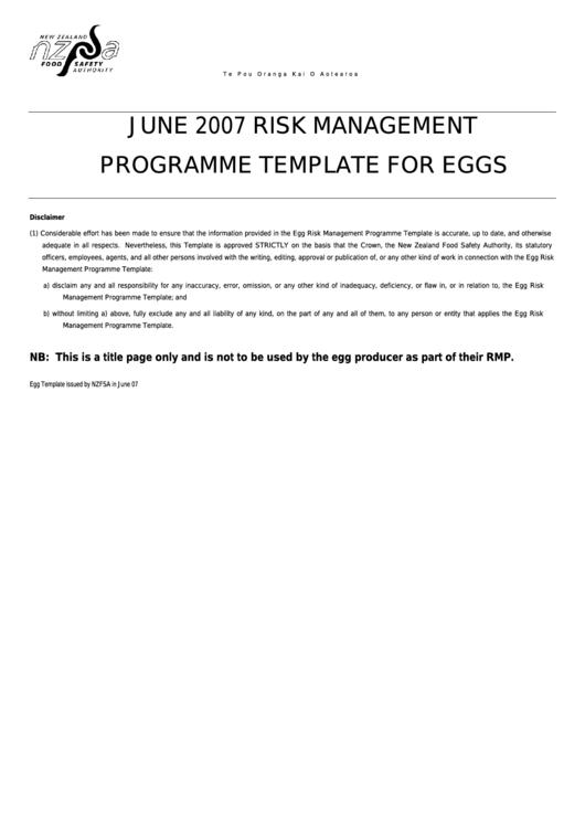 Risk Management Programme Template
