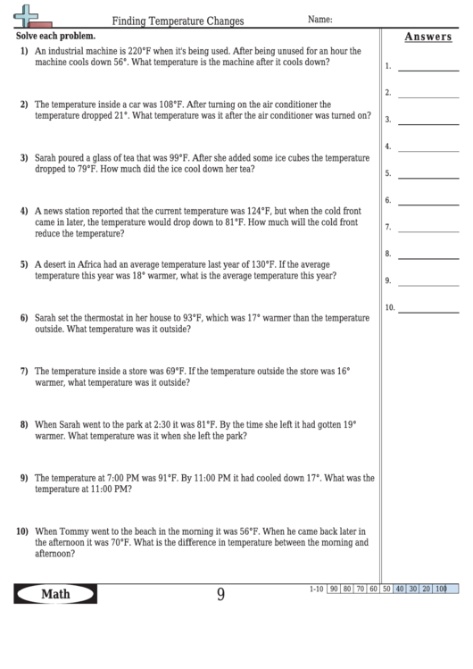 Finding Temperature Changes Worksheet Template With Answer Key