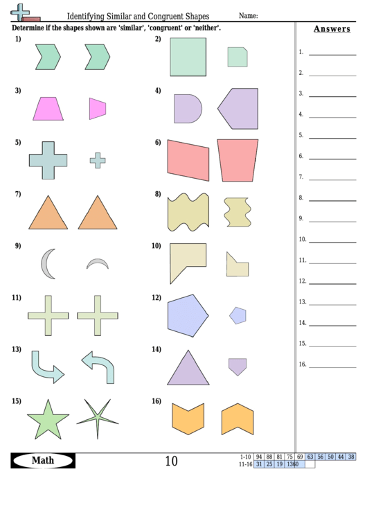 Identifying Similar And Congruent Shapes Worksheet With Answer Key