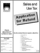 Form Dr-26s - Application For Refund - Sales And Use Tax