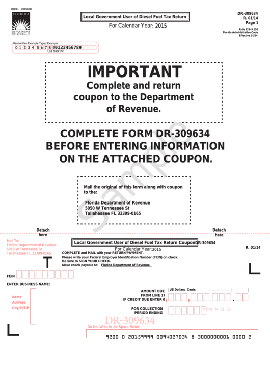 Form Dr-309634 Sample - Local Government User Of Diesel Fuel Tax Return - 2015 Printable pdf