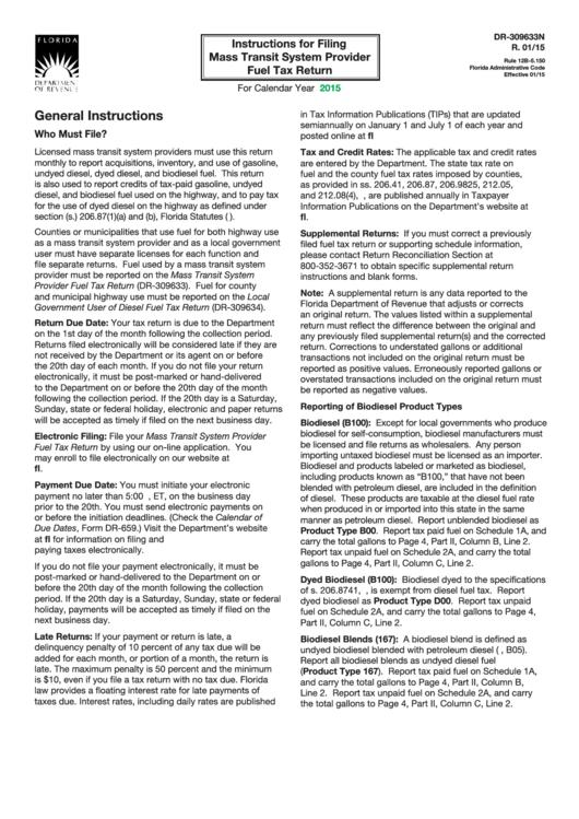 Form Dr-309633n Instructions - Filing Mass Transit System Provider Fuel Tax Return - 2015 Printable pdf