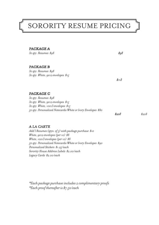 sorority resume pricing template printable pdf download