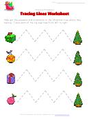 Christmas Worksheet - Tracing Zigzag Lines