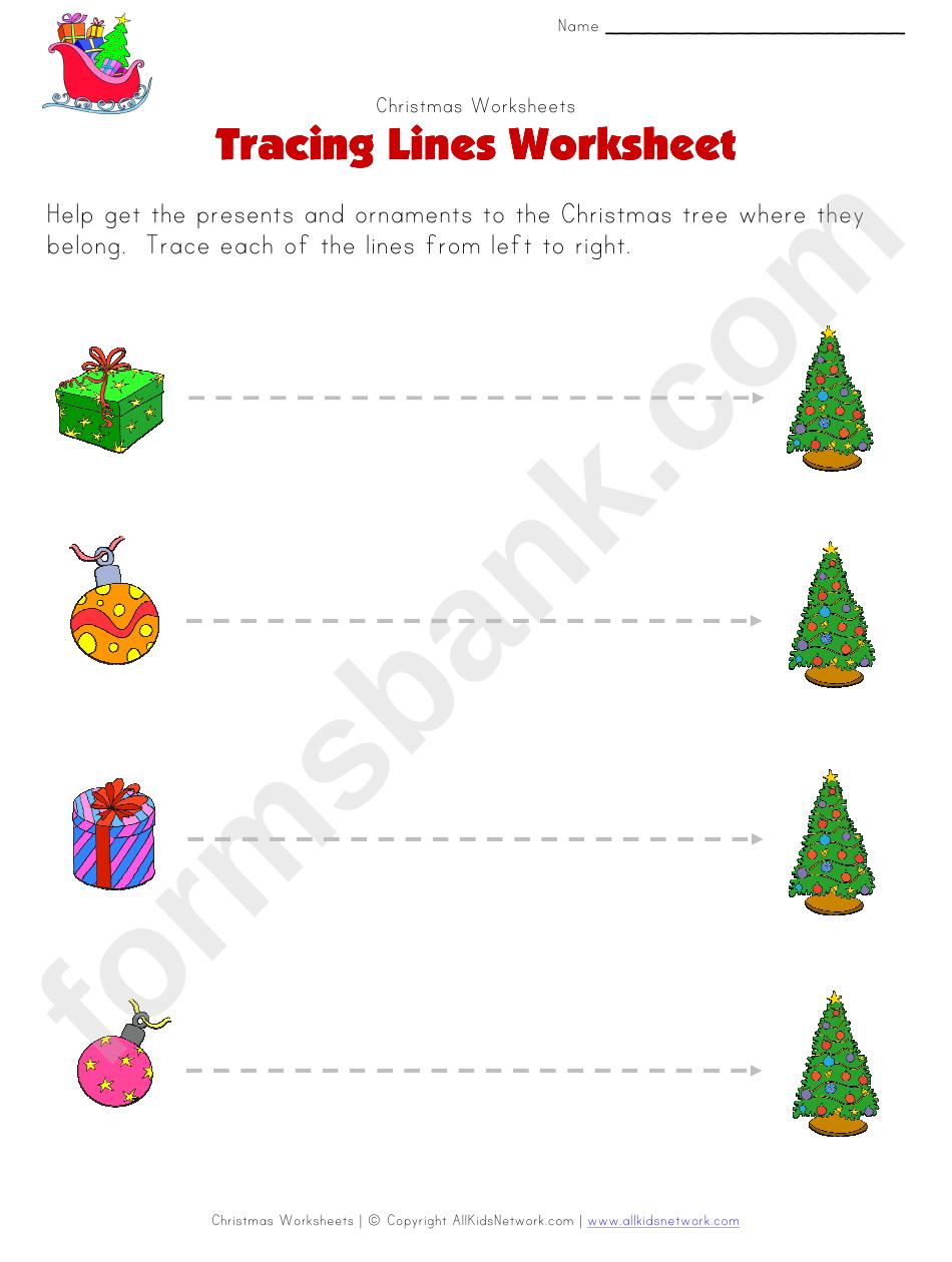 Christmas Tracing Straight Lines Worksheet Printable Pdf Download