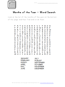 Word Search Puzzle Template - Month Of The Year