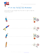 4th Of July Tracing Straight Lines Worksheet