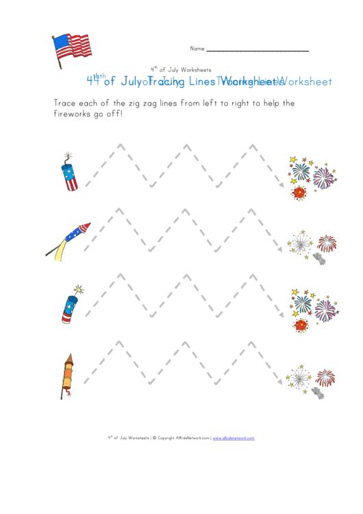 4th Of July Tracing Zigzag Lines Worksheet Printable Pdf Download