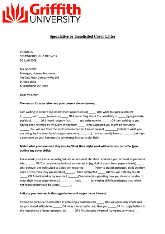 Sample Speculative Or Unsolicited Cover Letter Printable pdf