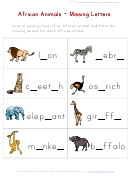 African Animals - Missing Letters Worksheet