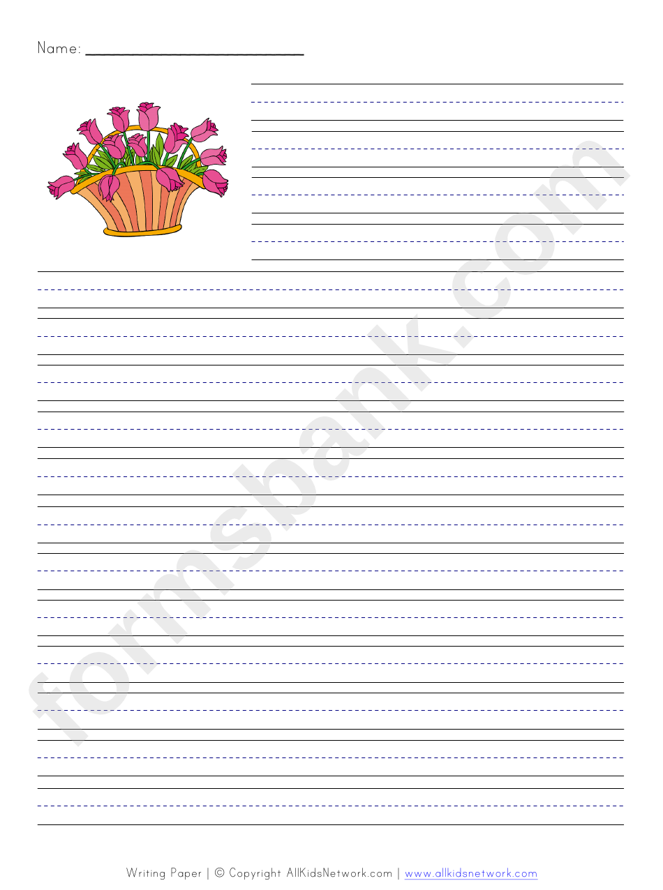 Spring Style Flowers Writing Paper Printable Pdf Download