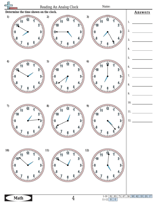 Reading An Analog Clock Worksheet Template With Answer Key ...