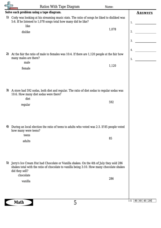Ratios With Tape Diagram Worksheet Template With Answer Key Printable Pdf Download