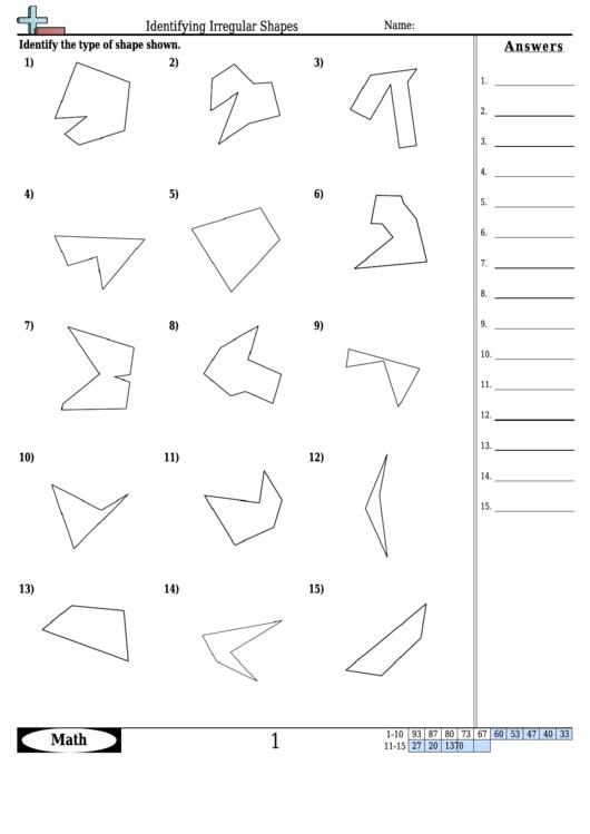 Identifying Irregular Shapes Worksheet With Answer Key ...