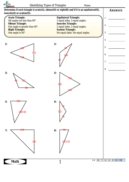Identifying Types Of Triangles Worksheet Template With