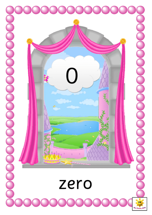 Princess Window Number Cards Template - 0 To 20