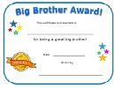Big Brother Award Certificate Template