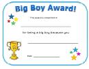 Big Boy Award Certificate Template