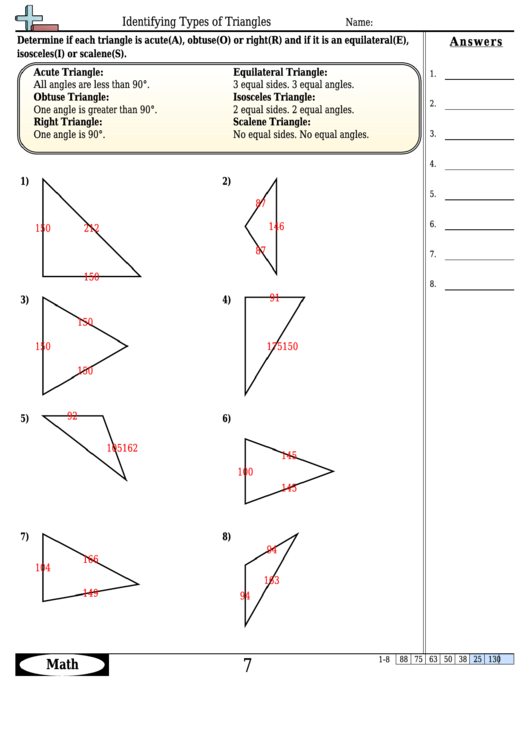 Identifying Types Of Triangles Worksheet Template With Answer Key