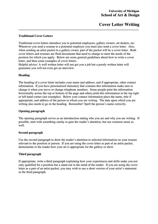 Cover Letter Writing Template Printable pdf