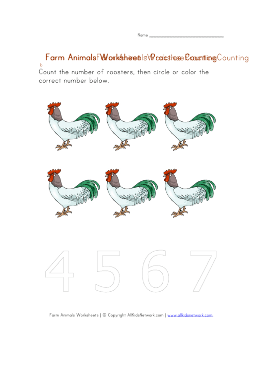 Farm Animals Practice Counting Worksheet