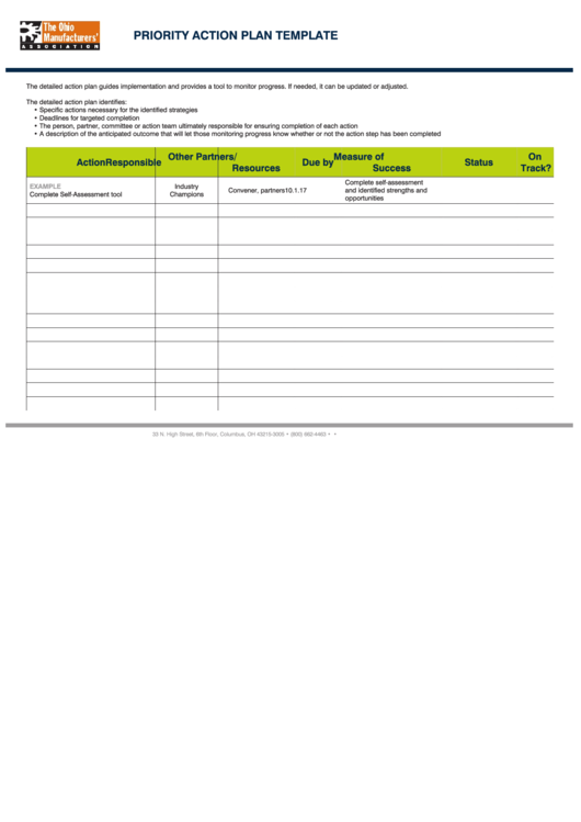 Priority Action Plan Template Printable pdf