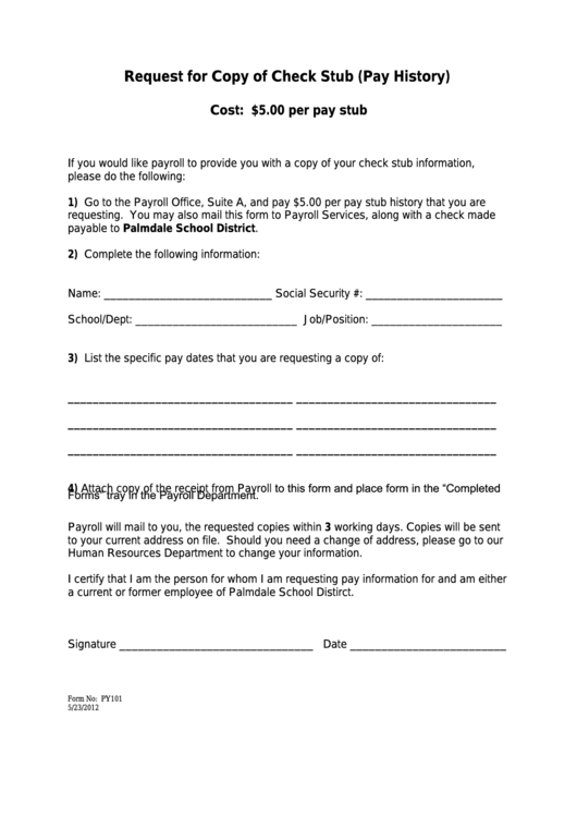 Form Py101 - Request For Copy Of Check Stub (pay History)