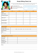 House Sitting Check List Template