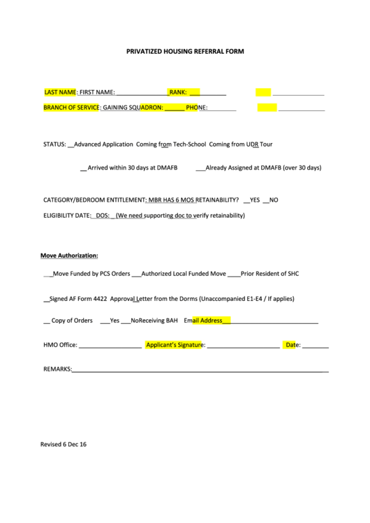Dd Form 1746 Draft - Application For Assignment To Housing Printable pdf
