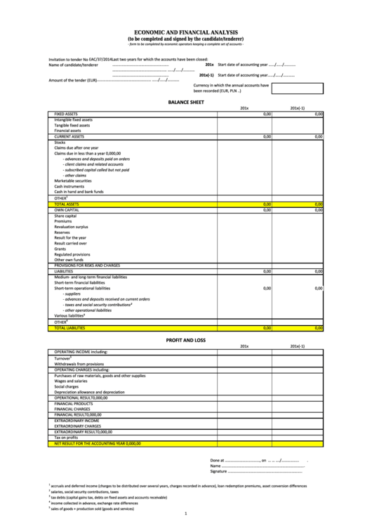 Economic And Financial Analysis Template