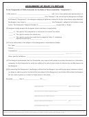 Form 00-985 - Assignment Of Right To Refund - State Of Texas - 2004