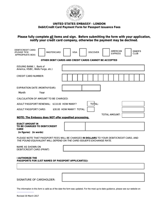 Debit/credit Card Payment Form For Passport Issuance Fees - United States Embassy London Printable pdf