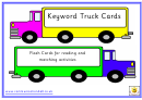 Keyword Truck Cards - Flash Cards For Reading And Matching Activities