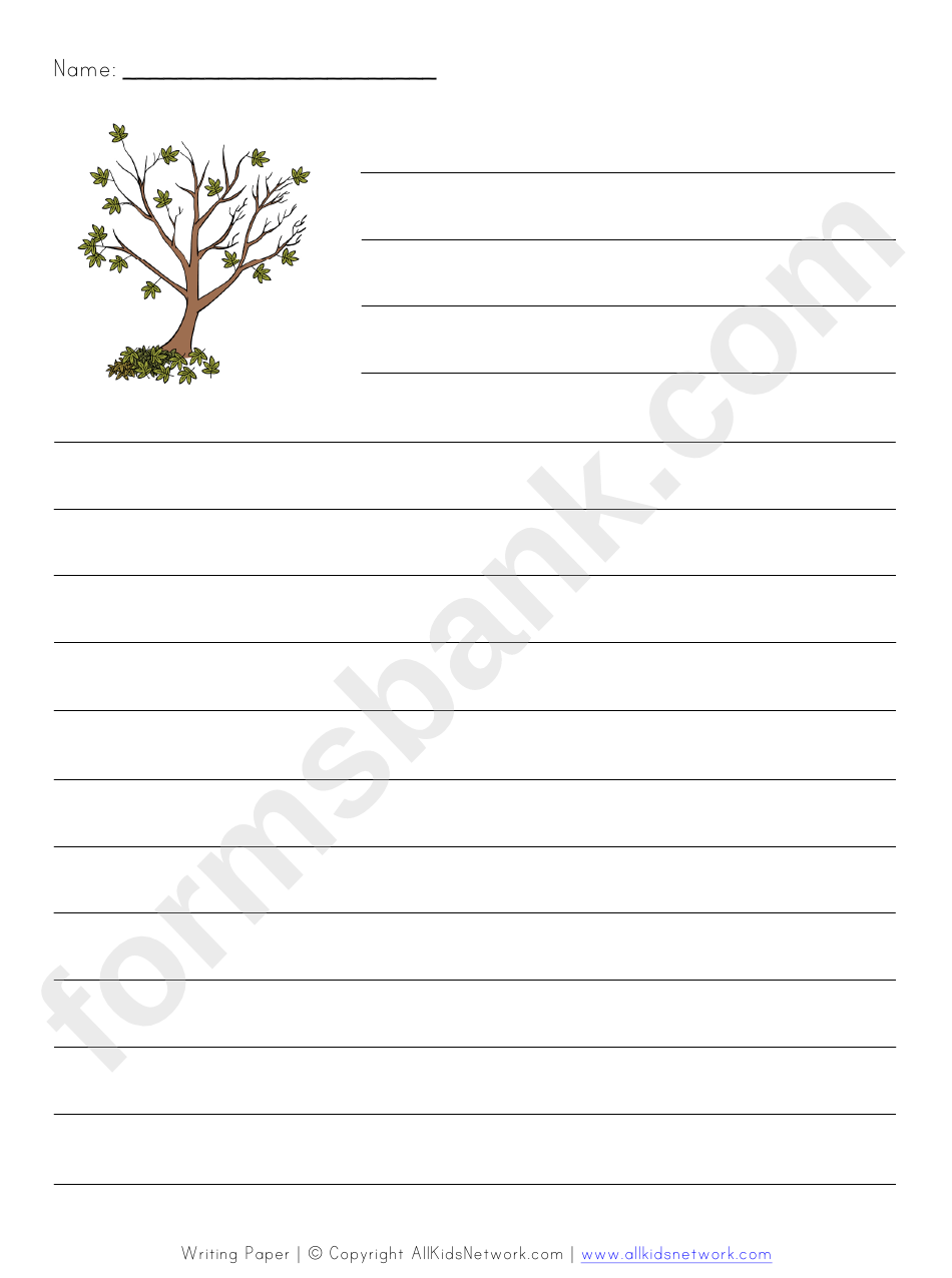 Tree Style Writing Paper