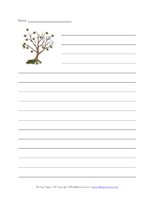 Tree Style Writing Paper Printable pdf