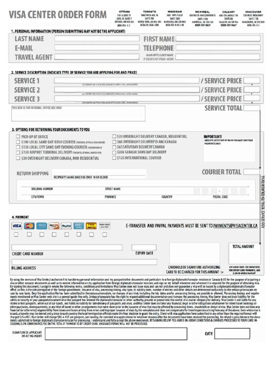 Visa Application Form - Visa Center Order Form Printable pdf