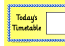 Today's Timetable Large Yellow Schedule Template