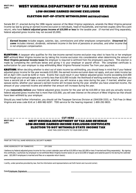 Form Wv/it-104 1 - Low-Income Earned Income Exclusion