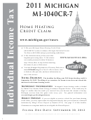 Instructions For Form Mi-1040cr-7 - Michigan Home Heating Credit Claim - 2011