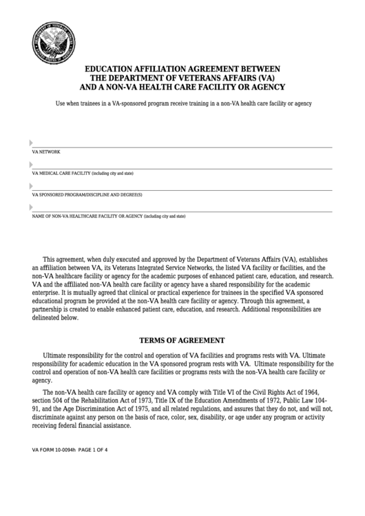 Fillable Va Form 10-0094h - Education Affiliation Agreement Between The Department Of Veterans Affairs (Va) And A Non-Va Health Care Facility Or Agency Printable pdf