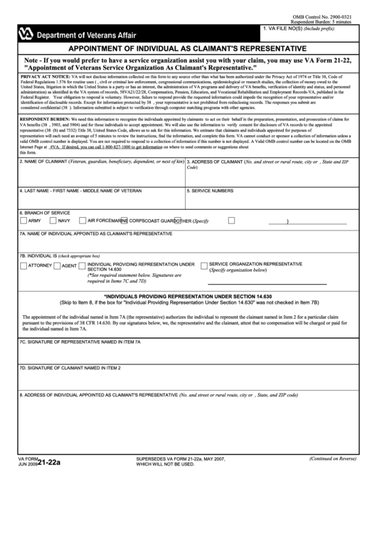 Fillable Va Form 21-22a - Appointment Of Individual As Claimant