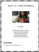 Read A Book Worksheets