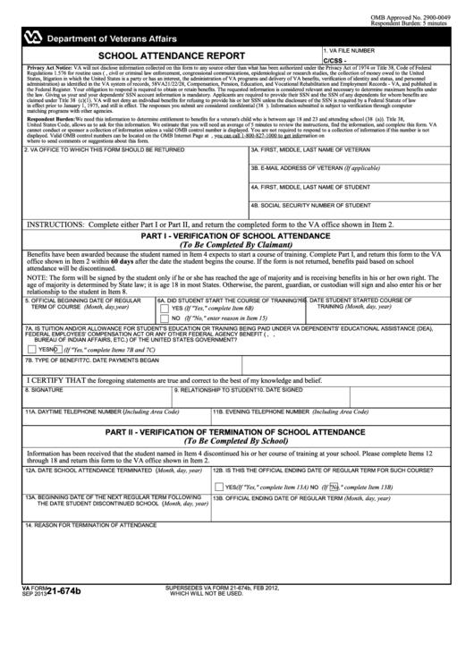 fillable va form 21-674b - school attendance report printable pdf