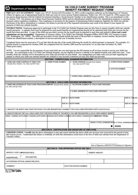 Fillable Va Form 0730h - Va Child Care Subsidy Program Benefit Payment Request Form Printable pdf