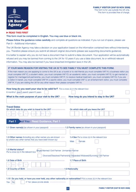 Form Vaf1b - Family Visitor Printable pdf