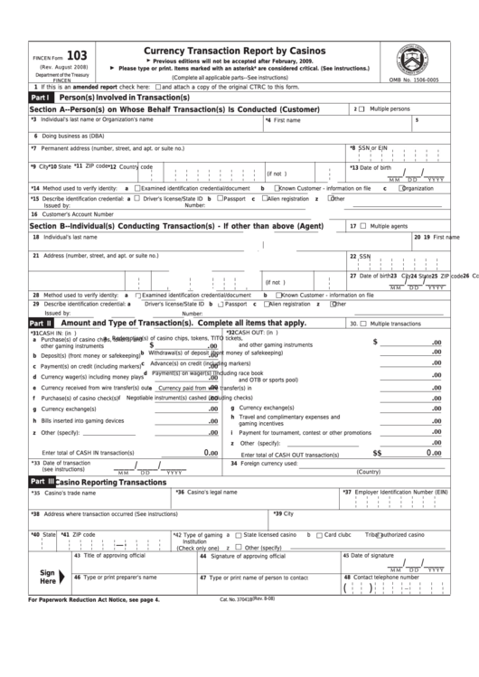 Top 5 Fincen Form 103 Templates Free To Download In Pdf Format
