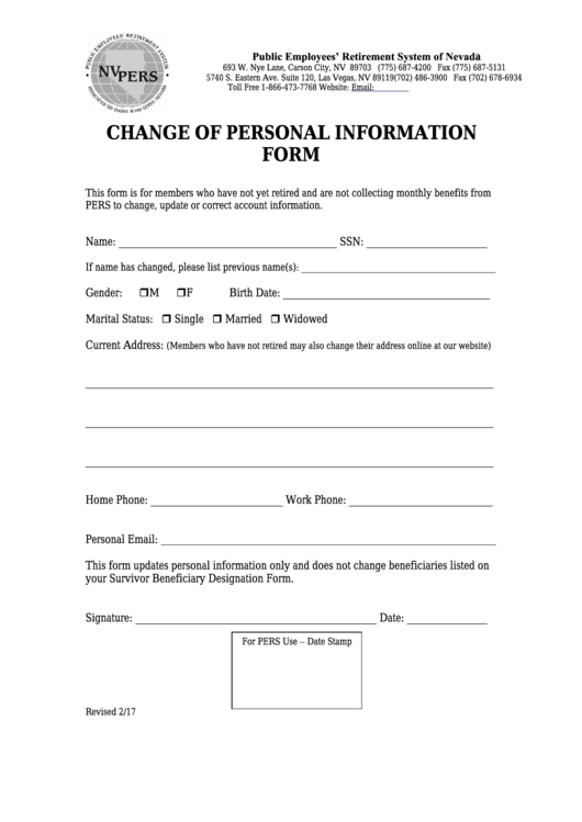 Change Of Personal Information Form - Public Employees' Retirement System Of Nevada